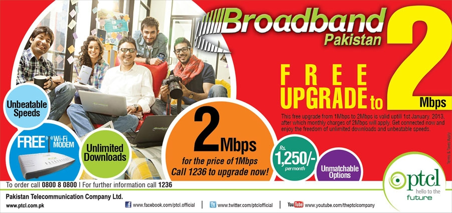 1Mbps to 2Mbps free upgrade Promo
