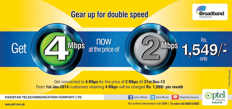 Broadband 2Mbps to 4Mbps upgrade promotion