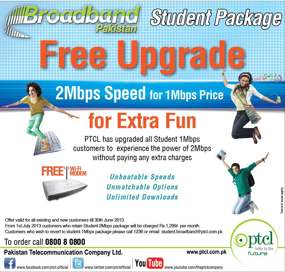 Broadband Student 1Mbps to 2Mbps upgrade Promo