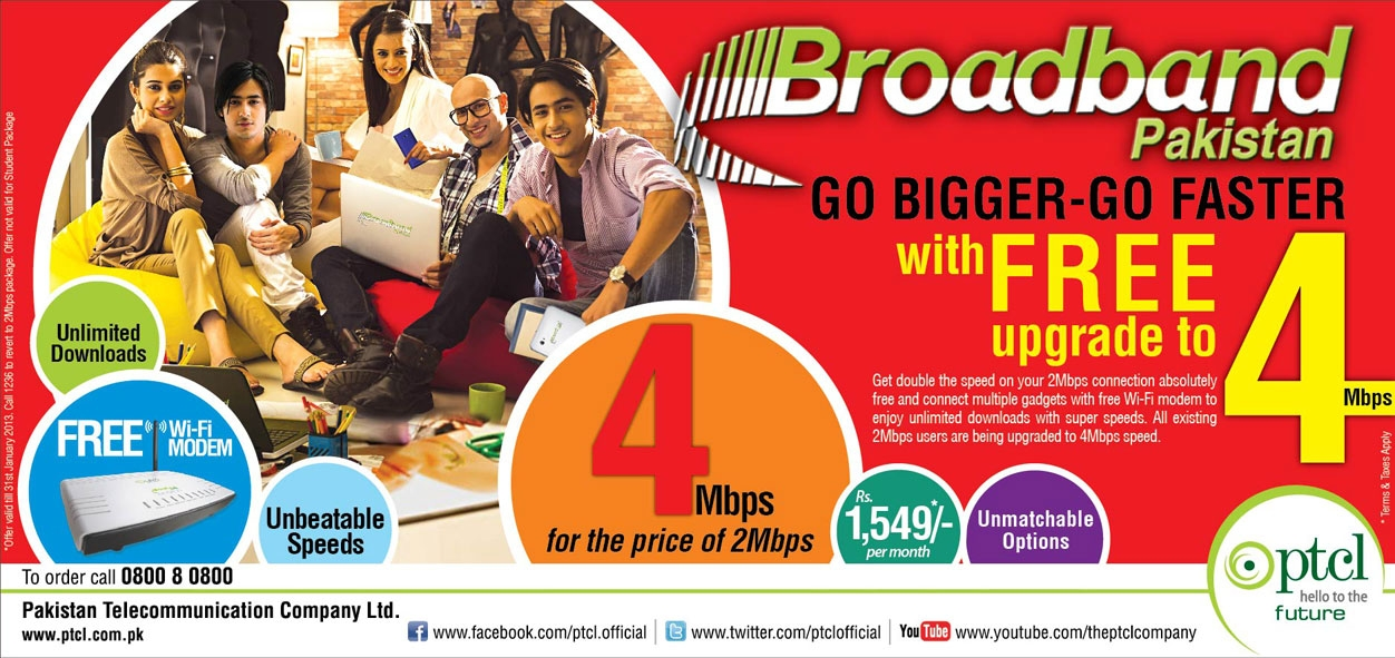 Broadband 2mb to 4mb promotion