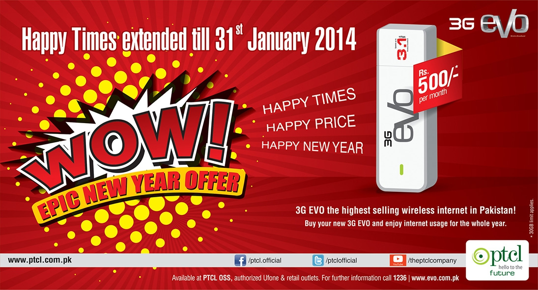 3G EVO EPIC New Year Offer-Happy Times extended
