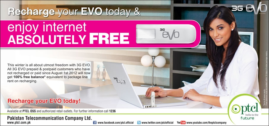 EVO Recharge Offer ( ENJOY FREE INTERNET )
